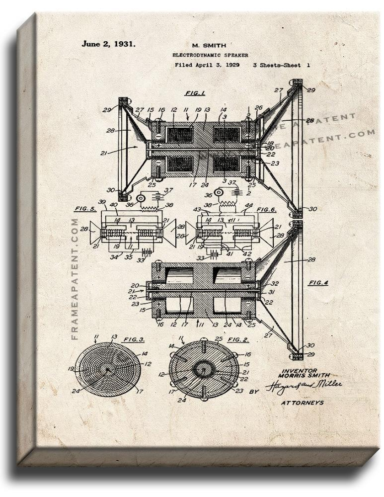 Primary image for Electrodynamic Speaker Patent Print Old Look on Canvas