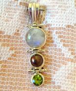 Sterling Silver 925 Rainbow Moonstone, Tahitian... - $70.00