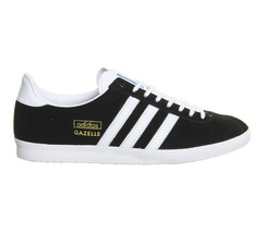 adidas Originals Mens Gazelle Og Black White Metallic Gold Trainers - $134.55