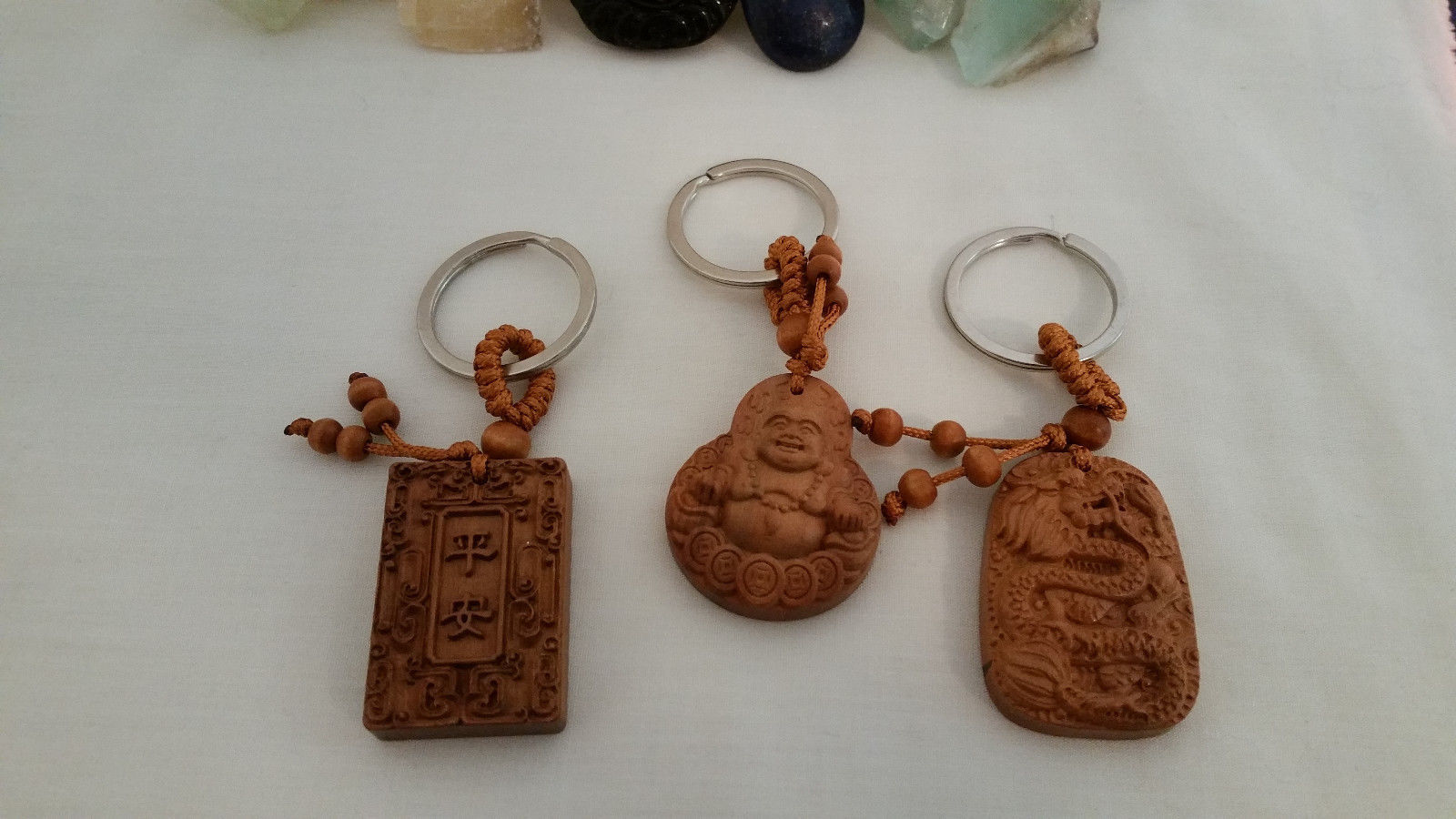 Set of 3 NEW  Bamboo Good Luck Key chains Buddha, Dragon, and Holy Book image 4