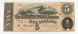 1864 $5 Confederate Note in AU+ Condition T-69 - $148.49