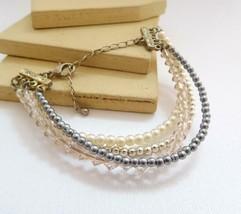 Vintage Faux White Gray Pearl Crystal Silver Tone Layered Bead Bracelet L23 - $13.59