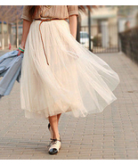 Modern Romantic Princess. Cream Mesh Tulle Full Skirt. Ivory Spring Summ... - $63.00