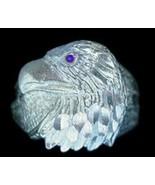 Sterling Silver Sapphire eye Eagle ring Jewelry Hawk - $38.55