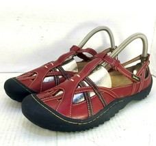 Jambu Red Leather Stitched T-Strap All Terra Hiking Sandals Women's 9 M - $29.68