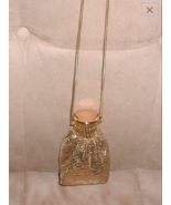 Vintage Whiting & Davis Gold metal mesh Gate-Top Purse with Long Chain - $153.45
