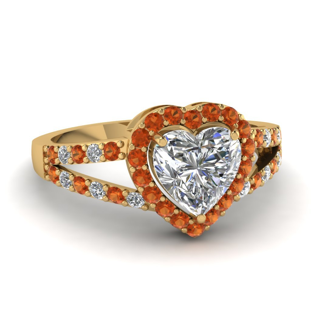 Primary image for Lovely Orange Sapphire & CZ Diamond 14K Yellow Gold FN 925 Siver Halo Heart  Rin