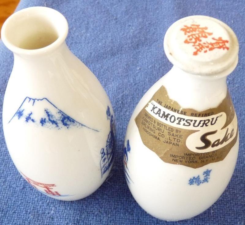 pair sake bottles Japanese vintage porcelain vintage beverage