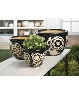 3 Ceramic Flower Pot, Planters Floral Nights Design Drain Hole in Bottom - $45.49
