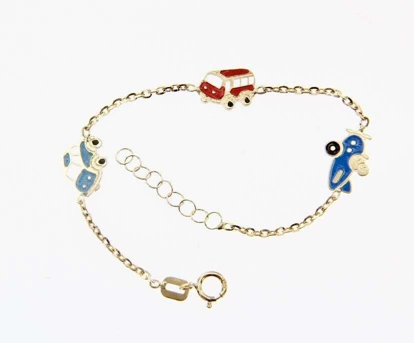 18 KT YELLOW GOLD BRACELET FOR KIDS WITH CAR PLANE SHUTTLE MADE IN ITALY  5.5 IN