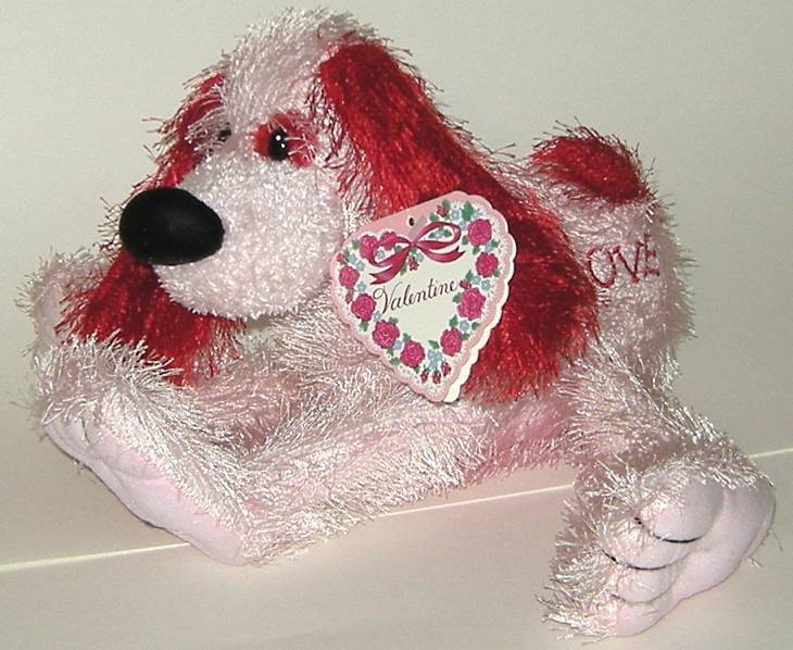 1/2 Price! Pink Red Love Bendable Plush Valentine Dog New w Tag
