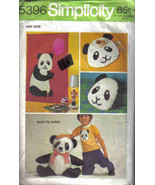 Simplicity 5396 Pattern Panda Bear stuffed Pillow Placemat Wall Hanging - $7.77
