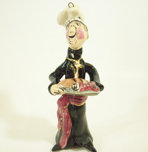 HEATHER GOLDMINC WAITER CHEF Ornament FIGURINE Tray Bread  Blue Sky Clay... - $27.71