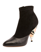 Givenchy Suede Enamel-Heel Ankle Boot, Black 36, 37 MSRP: $1,250.00 - $700.00