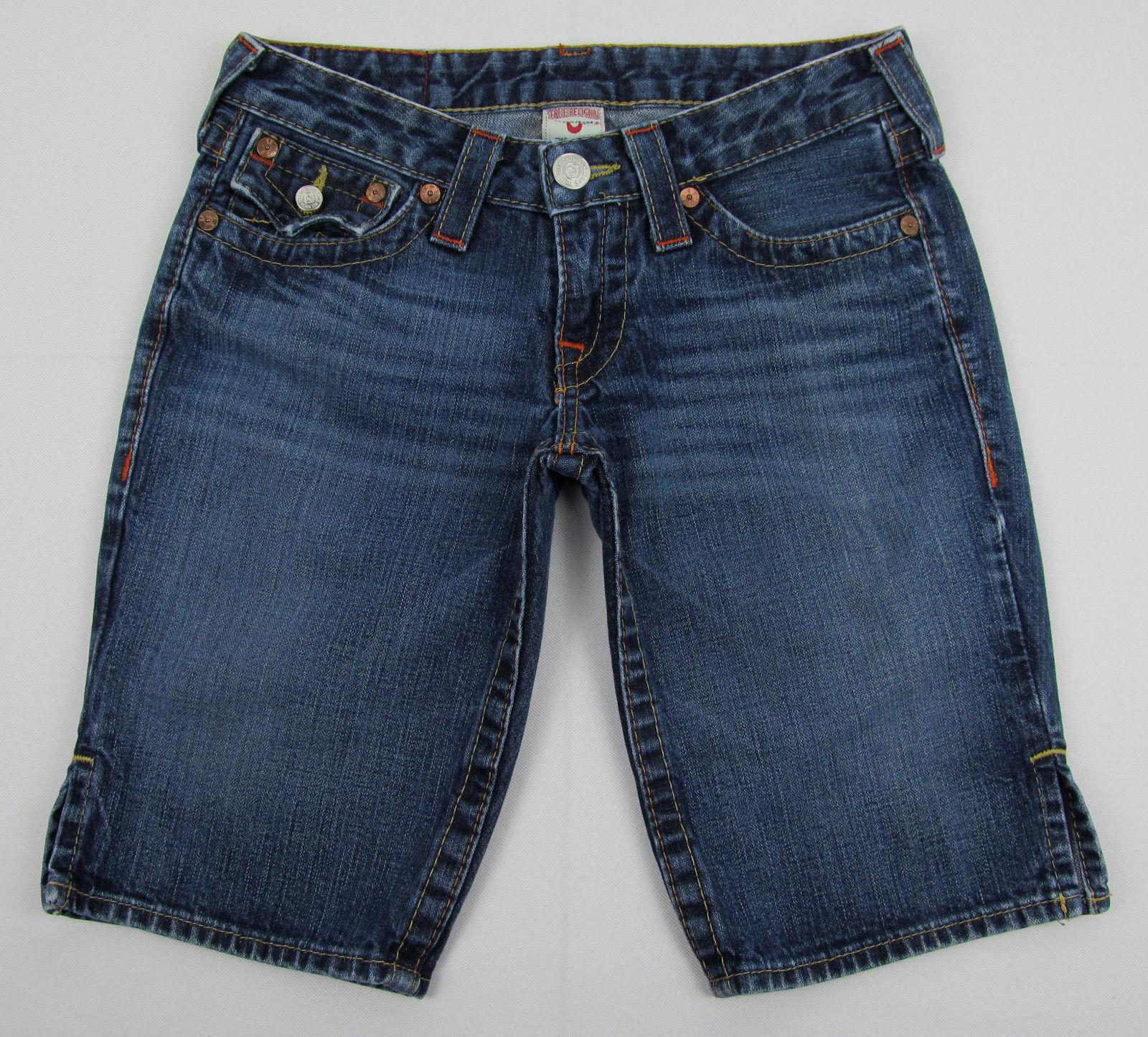 True Religion Joey jean shorts Jorts Flap Back USA Made Blue Womens Size 26 - $24.70