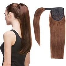 16 Inches Clip in Human Ponytail Hair Extensions Remy Human Hair Piece for Women