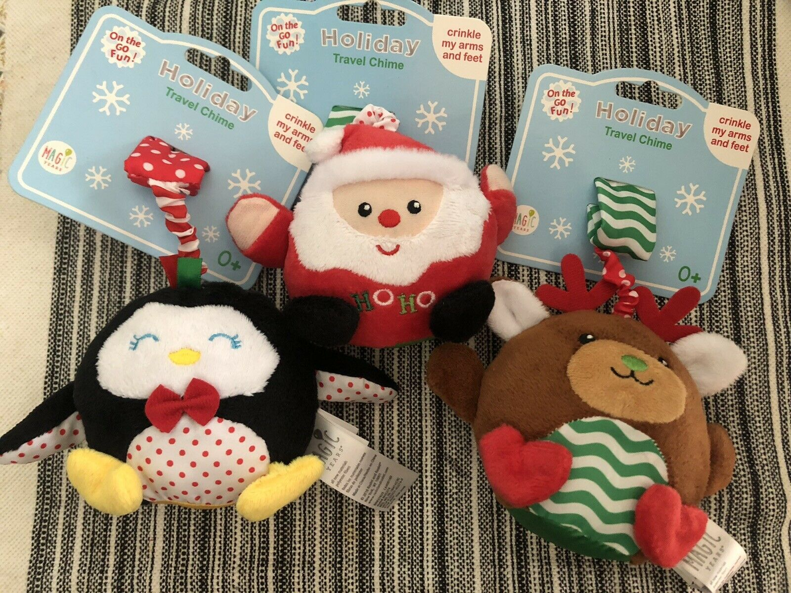 Lot of 3 Magic Years Infant Plush Holiday Rattle Chimes Santa Reindeer Penguin - $5.45