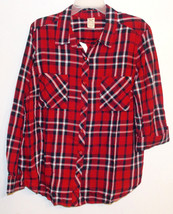 Faded Glory Women's 2 Flap Pocket Plaid Shirt with Roll Cuff Size XLg 16-18 NWT - $18.42