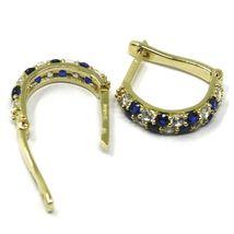 18K YELLOW GOLD MINI 10mm CIRCLE HOOPS EARRINGS, BLUE & WHITE CUBIC ZIRCONIA image 5