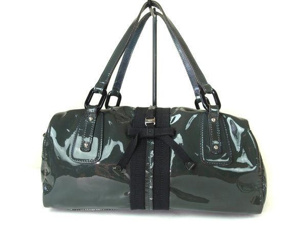 38c6df80e Authentic SALVATORE FERRAGAMO VARA Patent Leather Gray Mini Boston Bag  FB9289L - $130.00