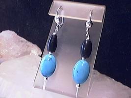 Native American Blue Turquoise & 1/2 Inch Black Hairpipe Earrings - €2,10 EUR