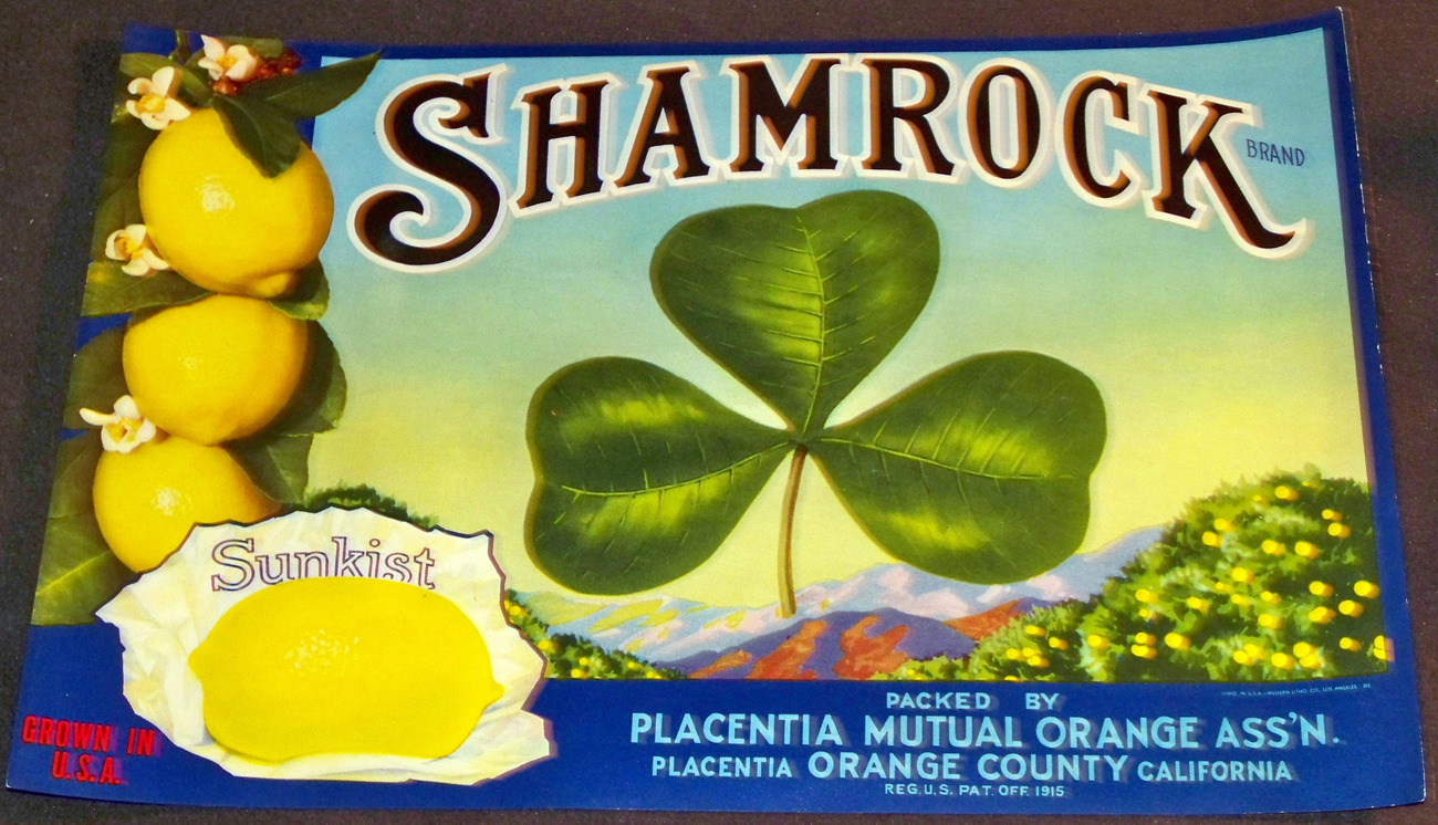 Irish Pride! Shamrock Lemon Crate Label, 1930's