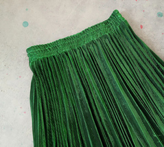 EMERALD GREEN A Line Long Pleated Skirt Womens Plus Size Full Pleated Skirts  image 3