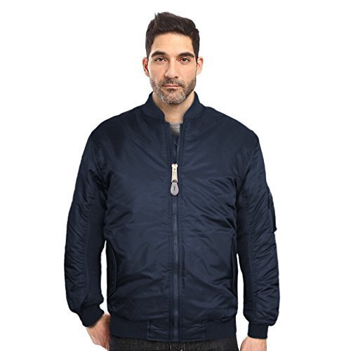 Maximos USA Men's Padded Water Resistant Reversible Flight Bomber Jacket (XL, Na