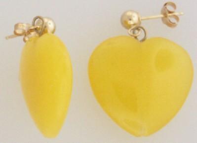 YELLOW CHALCEDONY GEMSTONE EARRINGS 3D HEART 14kt