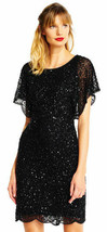 ADRIANNA PAPELL Beaded Flutter-Sleeve Dress Black Size 6 - $94.99