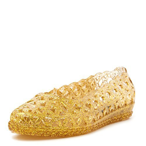 Jeffrey Campbell Women's Jelly Jam Flat Shoes JELLY-JAM Gold/Glitter, 9 (B)