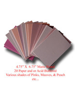 "Mat Board Art Project Pinks Colors Paper & Acid Buffered 20 Blank 4.75"" ... - $13.99"