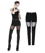 Black Mesh Lace Up Goth Pants Sexy Tight Skinny Bat Wing Fetish Punk Tro... - $60.99