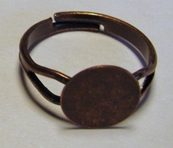 100 Antique'd COPPER Adjustable RING BLANKS 10mm pad - $19.99