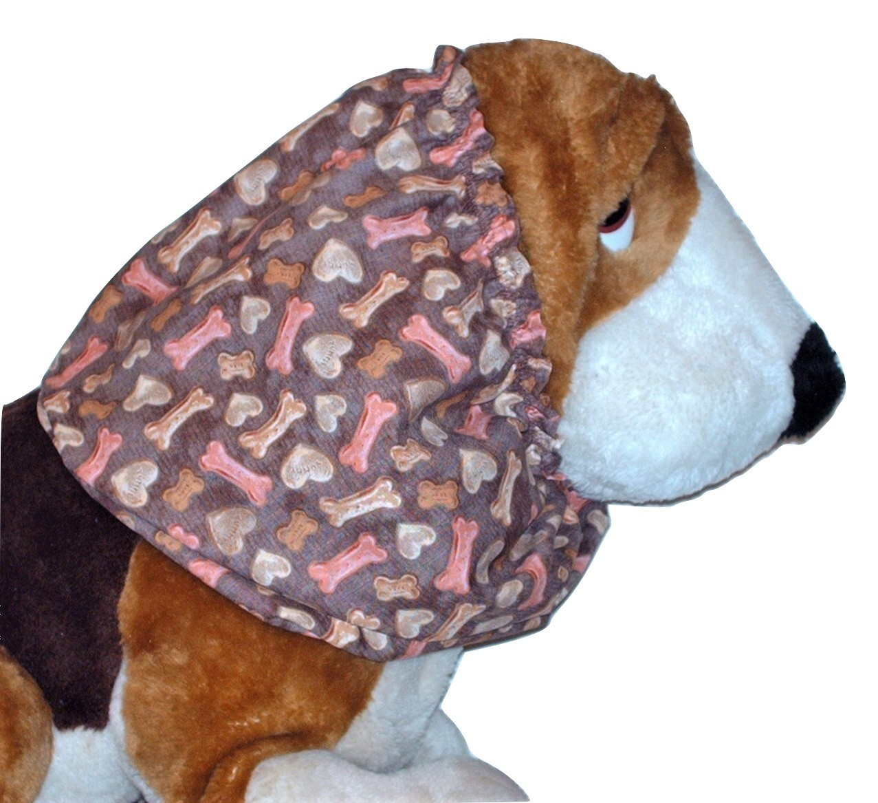 Brown Hearts and Bones Dog Treats Cotton Dog Snood by Howlin Hounds Size Large