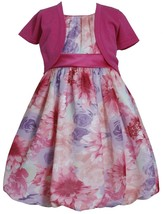 Bonnie Jean Little Girl 2T-6X Fuchsia-pink Large Floral Chiffon Bubble Dress/car