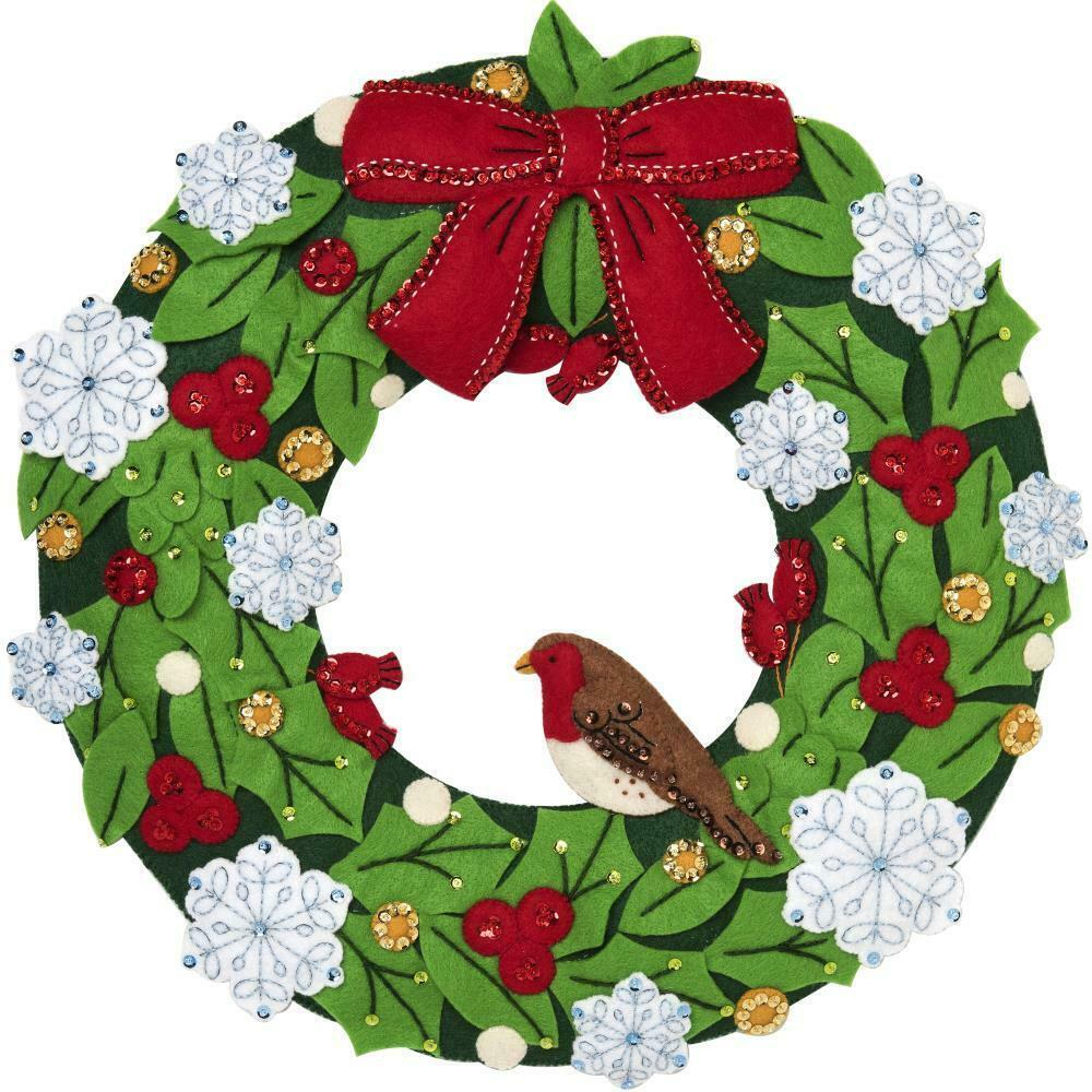 Primary image for Bucilla Tis the Season Birds Holly Snow Christmas Wreath Felt Craft Kit 86884