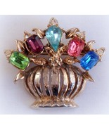 Vintage Flower Pot Pin with Jeweled Flowers Rhi... - $19.99