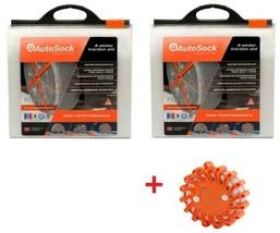 AutoSock AS685 (2 Sets) Snow Sock Set W/ Emergency Safety Flare - $207.85