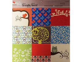 """Colorbok Friendly Forest 12x12"""" Cardstock Patterned Paper Pad #56504"""