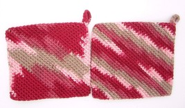 Crocheted Potholder Handmade Red & Brown Double Sided Set of 2 Double La... - $9.25