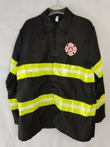 Firefighter Mens Womens Costume Adult Large Theater Reflective Black Coa... - $17.46