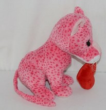 Ganz Brand HV9105 Pink Spotted Plush Chewey Style Leopard With Heart image 2