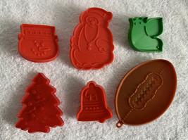 6 Vintage Hallmark Cookie Cutters Plastic Football Dove Bell Snowman Tre... - $18.76
