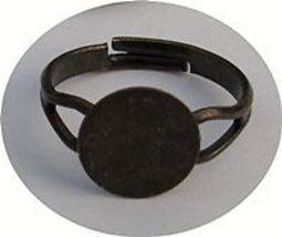25 Antique BRASS Adjustable RING BLANKS 10mm pad ~ NICE - $6.92