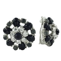 Rhinestone & Gem Flower Clip on Formal Fancy (BLack Grey Clear Silver Tone) - $28.05