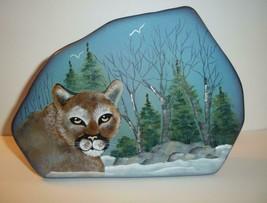 Fenton Glass Mountain Lion Cougar Cat Iceberg Paperweight Lt Ed Kim Barley #4/13 - $193.52