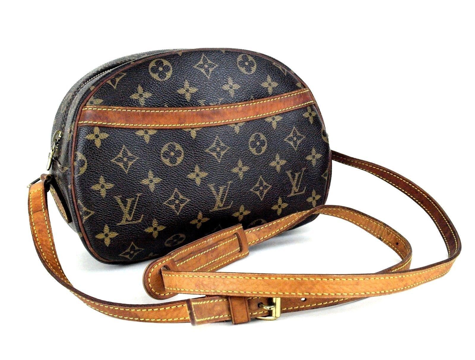 Auth Louis Vuitton Monogram Brown Leather Blois Crossbody Shoulder Bag SN1015 - $494.01