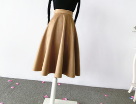 Women SUEDE Circle Skirt Autumn Winter SUEDE Midi Party Skirt, Camel Black Green image 2