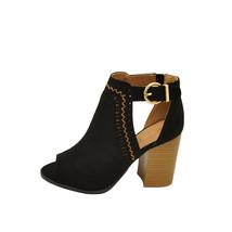 Qupid Brammer 29 Black Women's Peep Toe Perforated Booties - $35.95